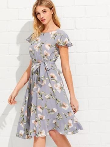 52abf1badb0e Wear this Light blue floral spring dress to the next spring event you have  this May. The perfect brunch dress, graduation dress, shower dress, bbq  dress, ...