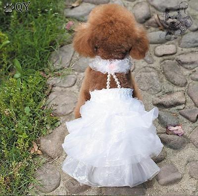 Ropa-Para-Perros-Pet-Cachorro-Perro-ropa-algodon-Molduras-Boda-Perro-Vestido-Xs-xl