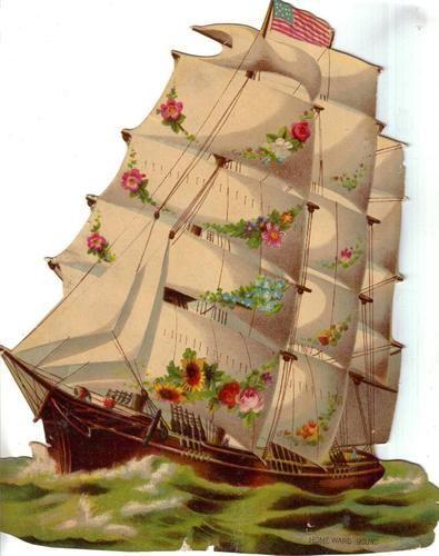 Large Victorian Die Cut Scrap Sailboat w USA Flag C1880s   eBay