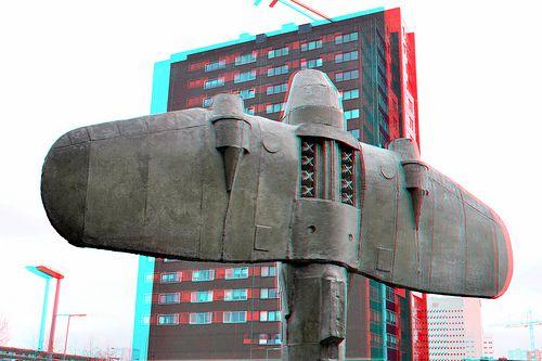 De Schaduw  Oorlogsverzetsmuseum.  Rotterdam Onno Poiesz.  Coolhaven anaglyph  red/cyan