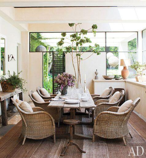 Wicker chairs indoors || Ellen DeGeneres and Portia De Rossi's home