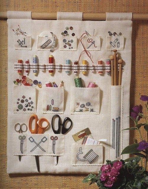 Organizador de tecidos para materiais de costura.