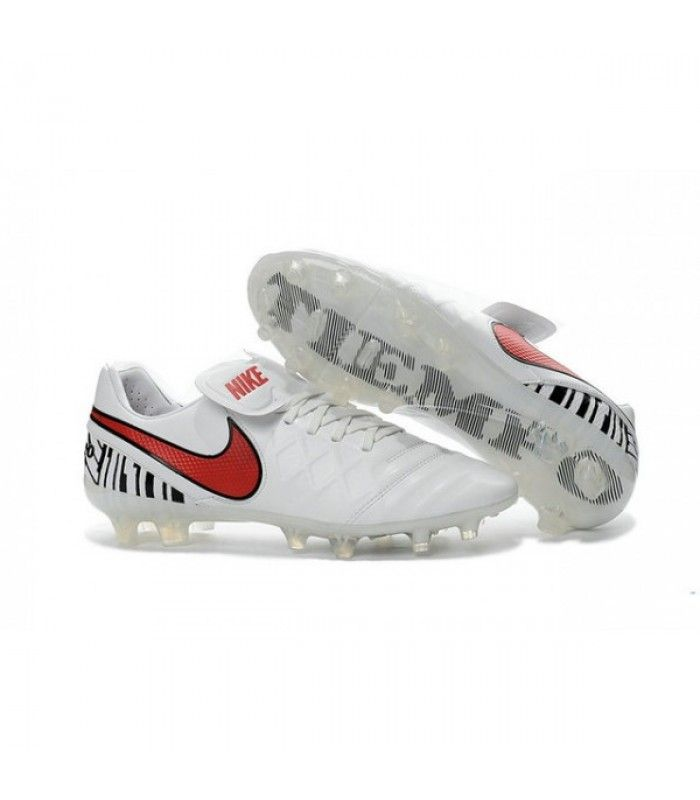 Acheter Nouveau Crampons de Football Nike Tiempo Legend VI FG Blanc Rouge pas cher en ligne 90,00€ sur http://cramponsdefootdiscount.com