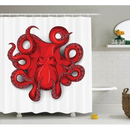 Octopus Decor Shower Curtain Set, Kraken Octopus With Shadow Tropical Seafood Marine Tentacle Simple Design Artwork Print, Bathroom Accessories, 69W X 70L Inches, By Ambesonne