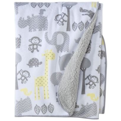 Circo Soft Valboa Baby Blanket - gray, yellow and white with elephants and other jungle animals
