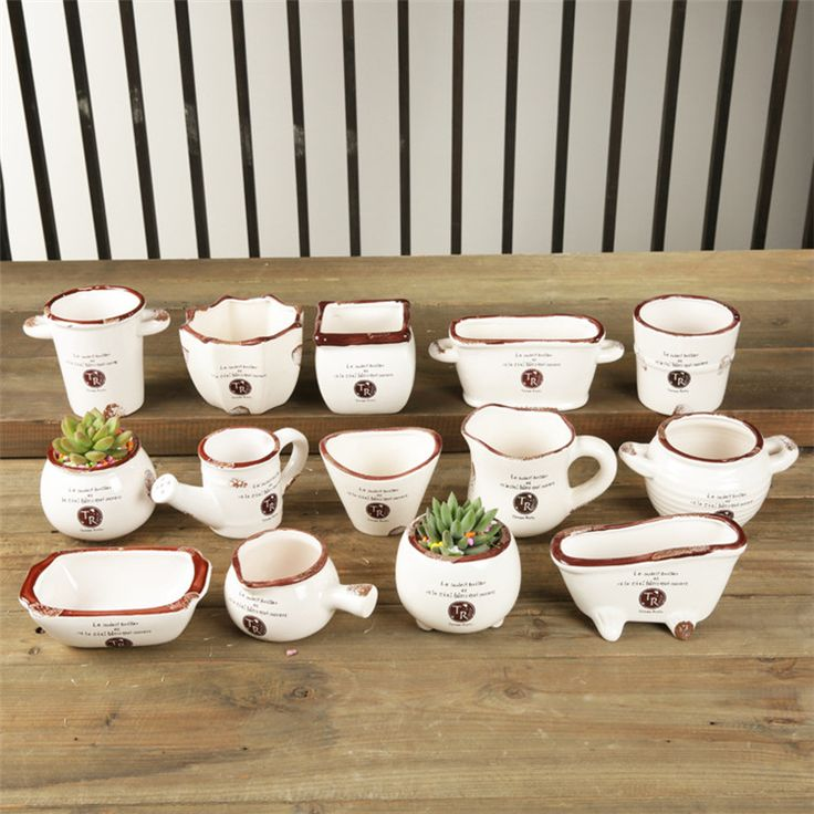 Pastoral Style 14 Models Mini Ceramic Plant Pots Creative Cute Flowerpot Flower Garden Pots Planters For Gift Home Decoration