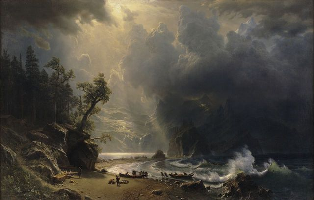 From Seattle Art Museum, Albert Bierstadt, Puget Sound on the Pacific Coast (1870), Oil on canvas, 133 2/5 × 208 3/10 in
