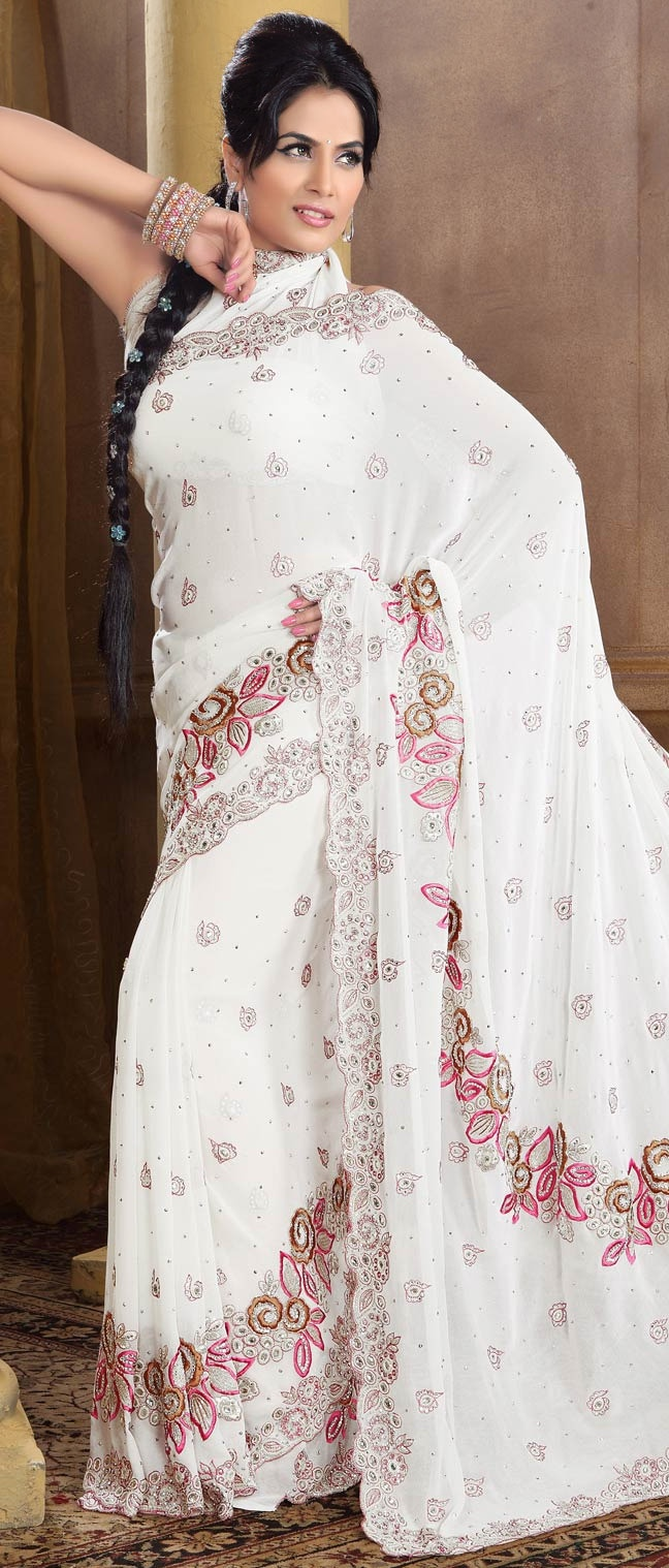 #White #Georgette #Saree With #Blouse