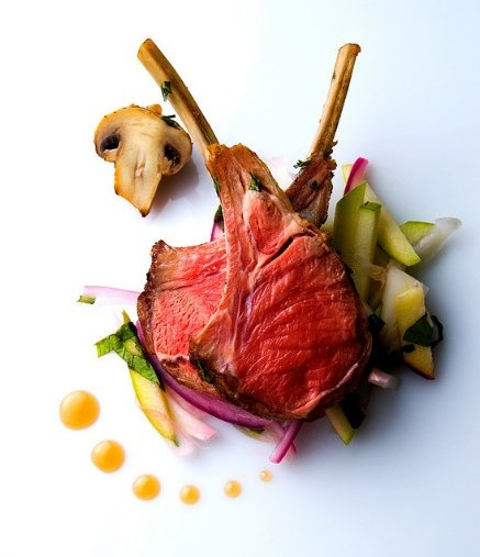 Lamb  Roasted Rack of Lamb with Green Apple Fennel Slaw and White Truffle Honey
