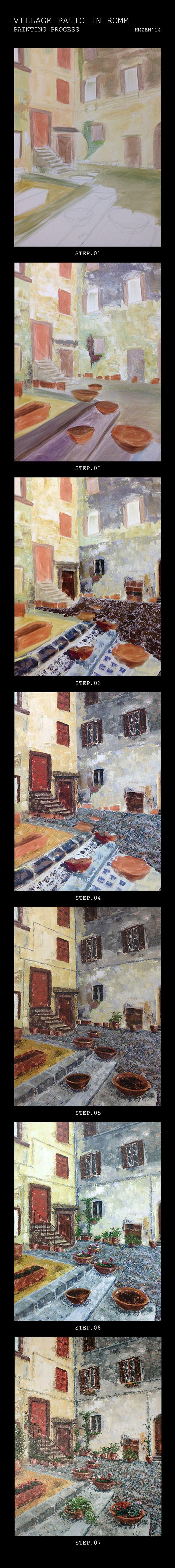 Proceso de creación del acrílico con espátula - Patio de pueblo en Roma. Creation process of acrylic with spatula - Village patio in Rome HMZEN'14