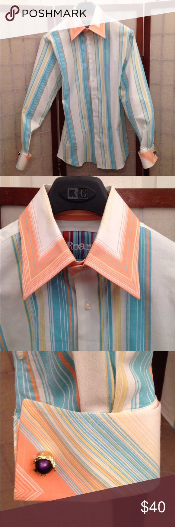 Stylish Dress Shirt WOW! This will be best looking shirt in your wardrobe. And even better when modeled by you. Feels as good as it looks. All cotton, no pocket.  Gently worn and lovingly cared for. Pix of unique triple button collar shows attention to details. Long sleeves for elegant cuff links (sold separately).   From SmokeFree home next to PostOffice so shipping is FAST! ROAR Shirts Dress Shirts