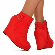 Para Mujer Rojo Talle Uk 7 Plataforma Cuña Botines Corte posterior Zapatos Botines Tacones