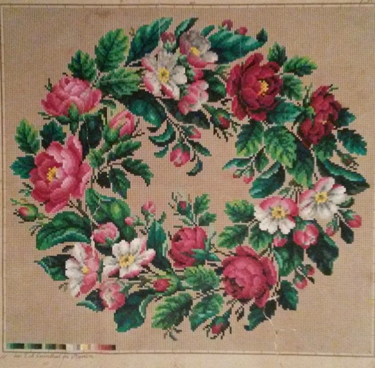 A Simply Wonderful Floral Berlin WoolWork Rose Wreath Pattern