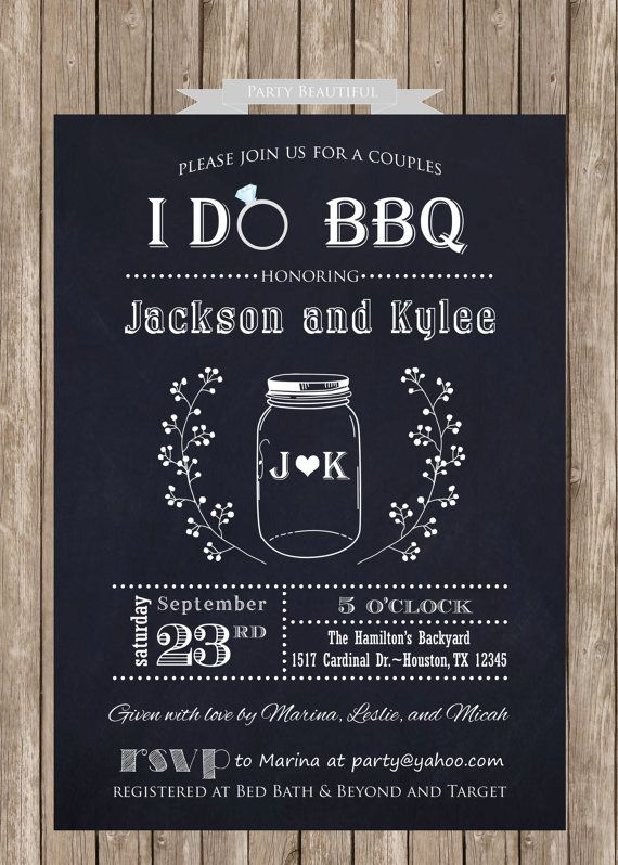 Couples or Coed Bridal Shower Printable Invitation-I Do BBQ, Chalkboard, Mason Jar, Wedding