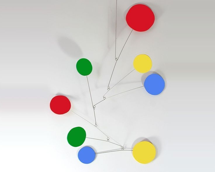 """Exuberant Art Mobile - 3 Sizes To Choose From - Calder and Midcentury Modern Inspired Moving Sculpture. """"Exuberant"""" is a delightful hanging art mobile inspired by Alexander Calder and mid century modern style. I take inspiration from Calder and create a new and unique kinetic art sculpture for your home, office, or baby nursery. Whimsical abstract shapes dance in the slightest breeze. Includes simple instructions, strong nylon line, two """"S"""" hooks, and an eye hook for hanging from ceiling…"""