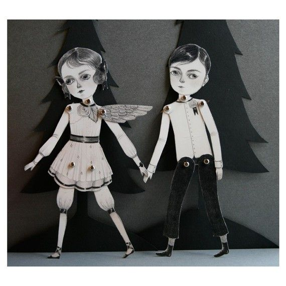November and December articulated paper doll set with 10 silver brads, by woolandwater/Amy Earles on Etsy.: