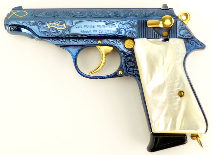 Walther PP 7.65 mm caliber pistol. Outstanding custom engraved Post-War model. Features full coverage scroll with gold accents and gold inlays, with a beautiful fire blue finish throughout. Has genuine pearl grips. A beautiful piece in excellent condition with factory presentation .