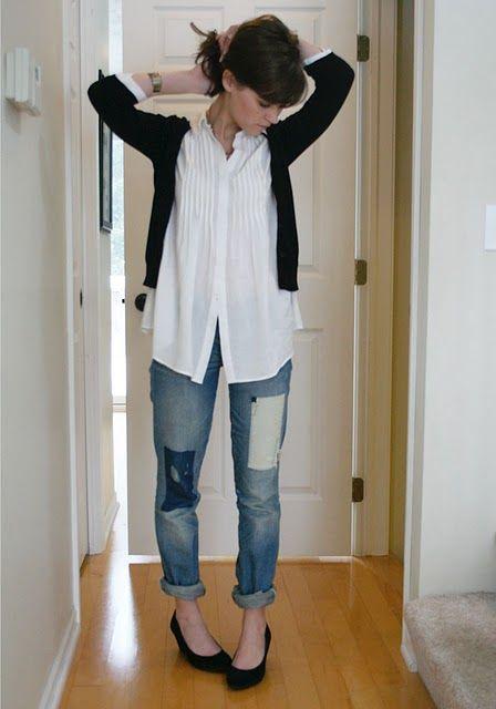 short, long, short - tunic blouse, cardi, rolled jeans