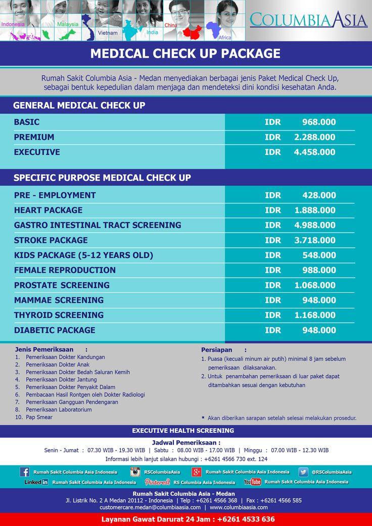 Rumah Sakit Columbia Asia Medan menyediakan berbagai jenis paket medical check up, sebagai bentuk kepedulian dalam menjaga dan mendeteksi dini kondisi kesehatan anda. Segera lakukan pemeriksaan awal di Rumah Sakit Columbia Asia Medan.