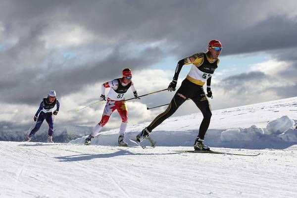 Anastazia Kumina of Slovakia holds the lead during the cross country sprint freestyle at the Winter Games NZ in Wanaka, New Zealand on Aug. 15, but has a couple of pursuers in close range.