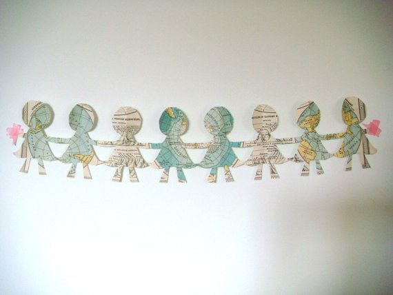 Paper Doll Garland in Around the World by laylaloustudio on Etsy, $12.00