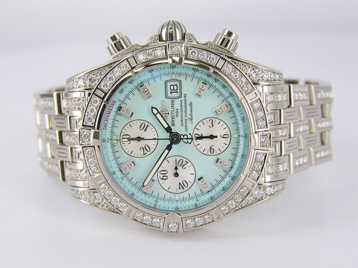 18kt White Gold Mens Breitling Chronomat Evolution Watch Click to find out more -  http://menswomenswatches.com/18kt-white-gold-mens-breitling-chronomat-evolution-watch/