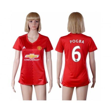 Manchester United Fotbollskläder Kvinnor 16-17 Paul #Pogba 6 Hemmatröja Kortärmad,259,28KR,shirtshopservice@gmail.com