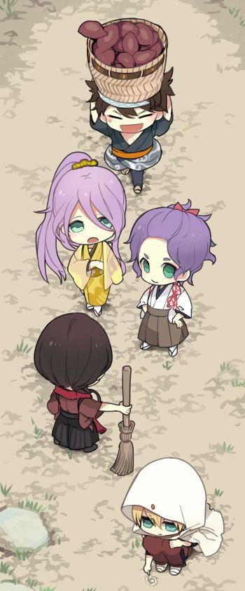 Touken Ranbu chibi starting swords. Kashuu, Kasen, Mutsunokami, Yamanbagiri, Hachisuka