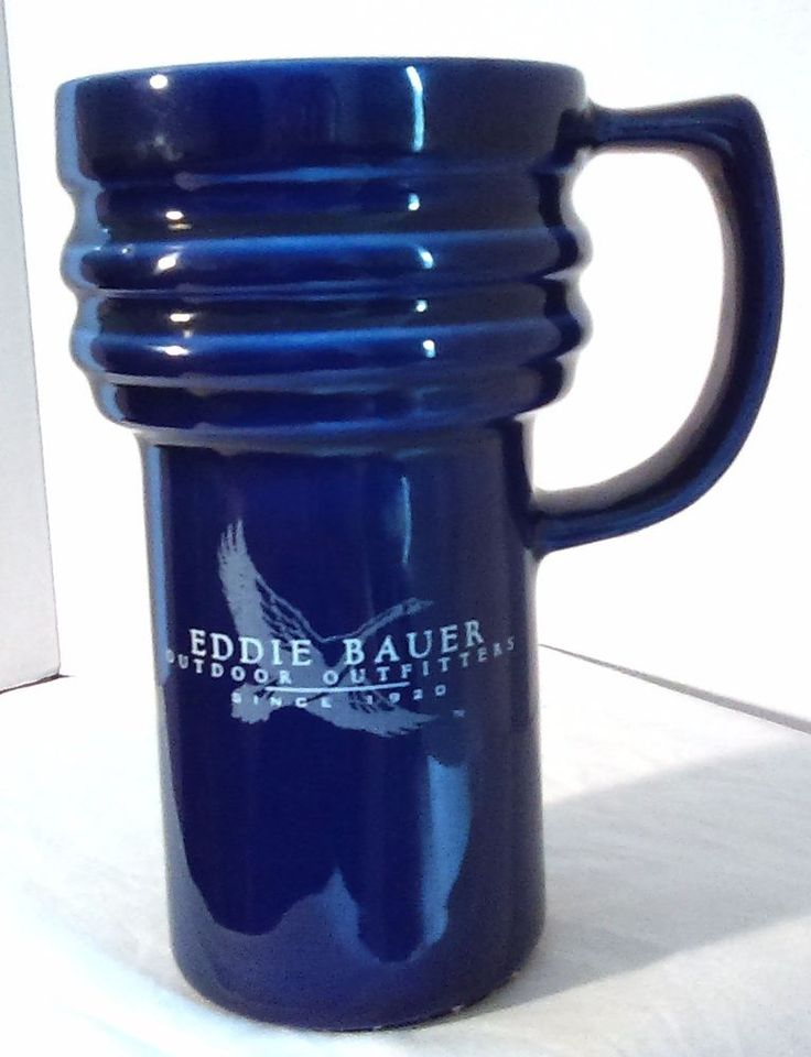 Eddie Bauer Travel Mug Outdoor Outfitters Cobalt Blue Ceramic with Lid