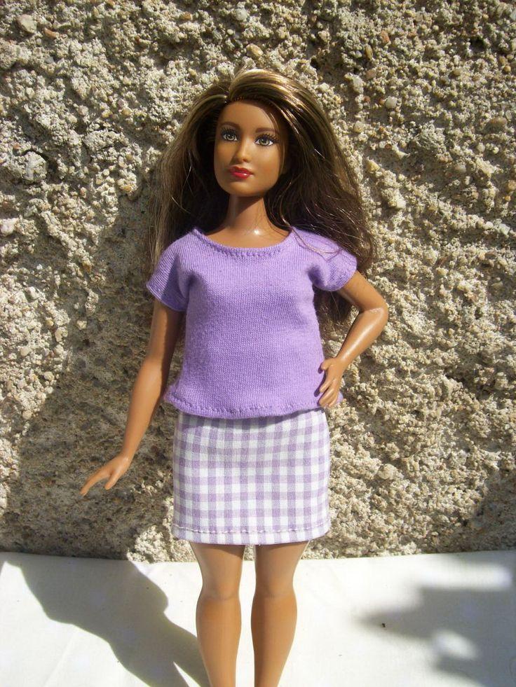 Komplet+pro+Curvy+Barbie+Topík+a+sukně.Bez+zapínání.