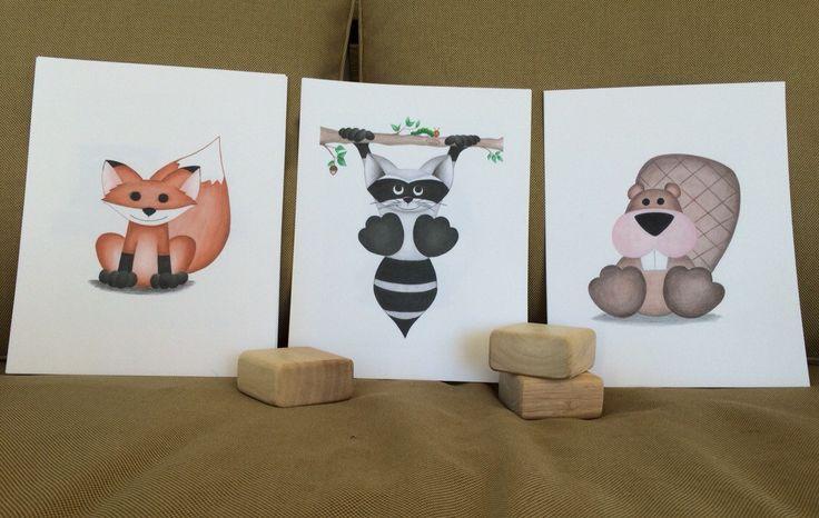 Instant Download WOODLAND boys nursery wall art prints, fox and raccoon nursery, woodland animals nursery decor, forest animal wall art - pinned by pin4etsy.com