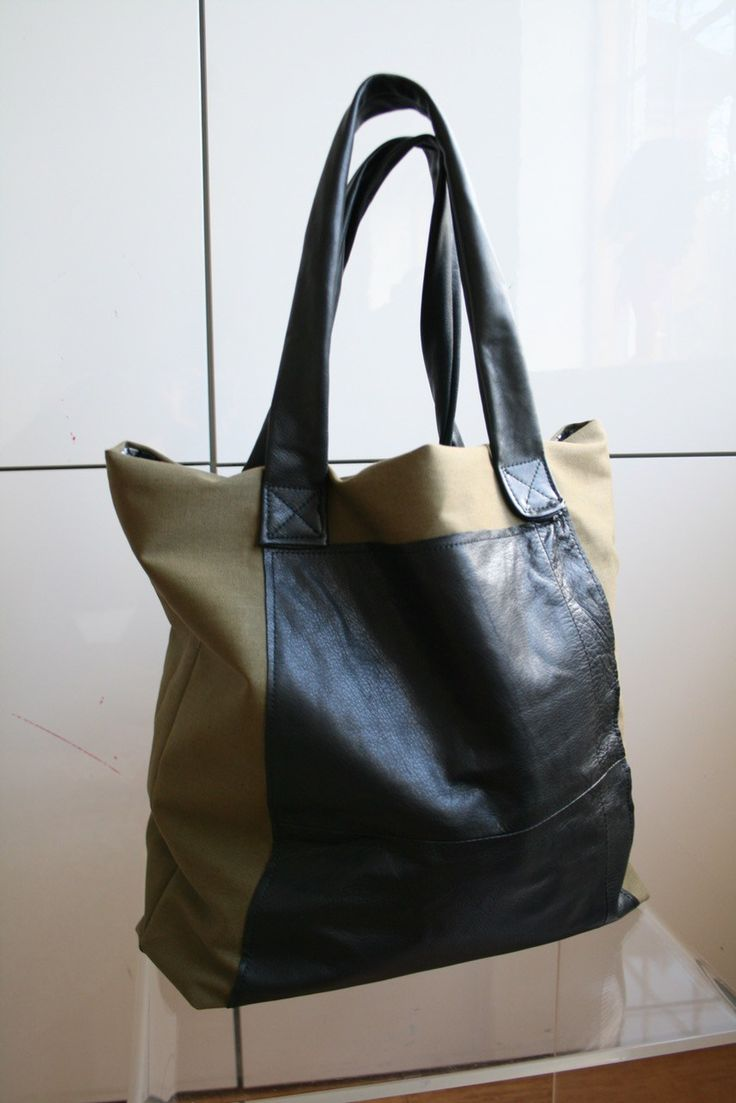 DIY upcycled leather tote bag pattern