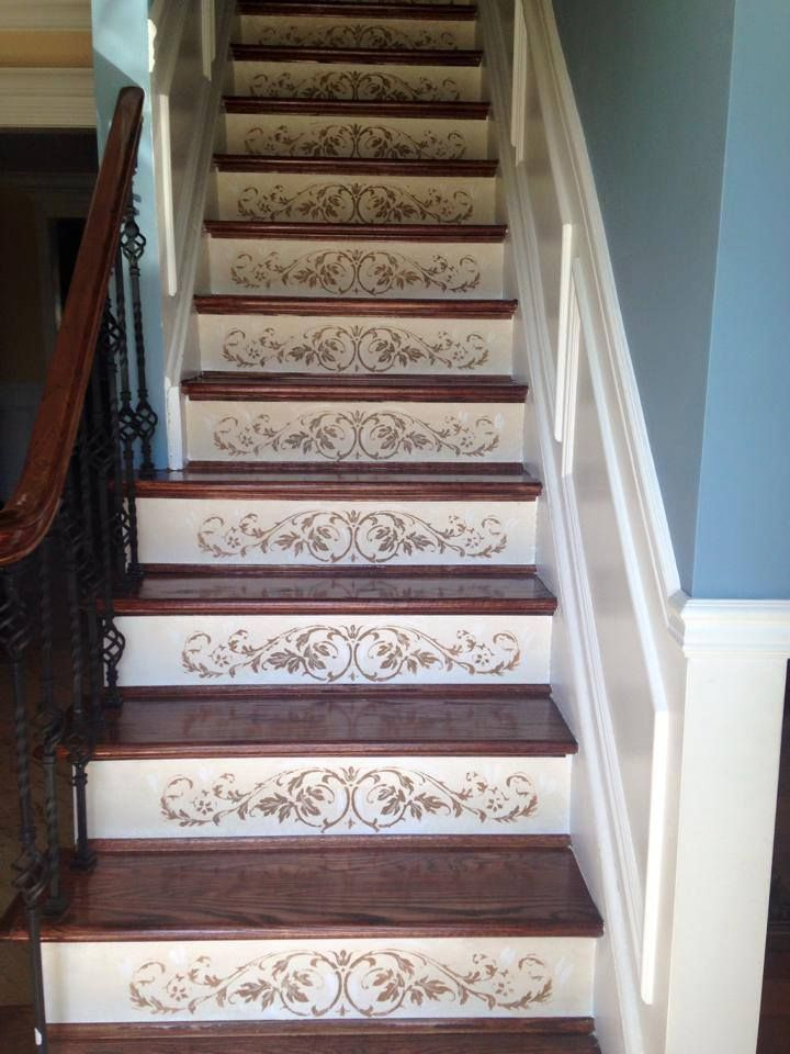 Stencils are on the RISE! It's ok to stop and 'stair' at something as beautiful as the Westbury Stair Riser Stencil painted by Arlene Mcloughlin Murals and Decorative painting! See more examples:  http://www.cuttingedgestencils.com/staircase-stencil.html?utm_source=JCG&utm_medium=Pinterest&utm_campaign=Westbury%20Stair%20Riser%20Stencil