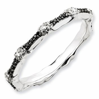 Black Diamond Wedding Bands in Sterling Silver