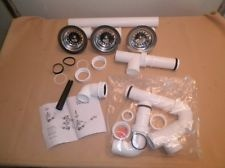 Teka 52408 Sink Plumbing Drain Kit with 3 1/2 Basket Strainers Pipes Fittings