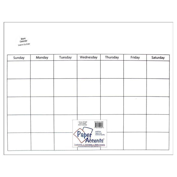 Calendar Page 16x20 Plastic 1pc