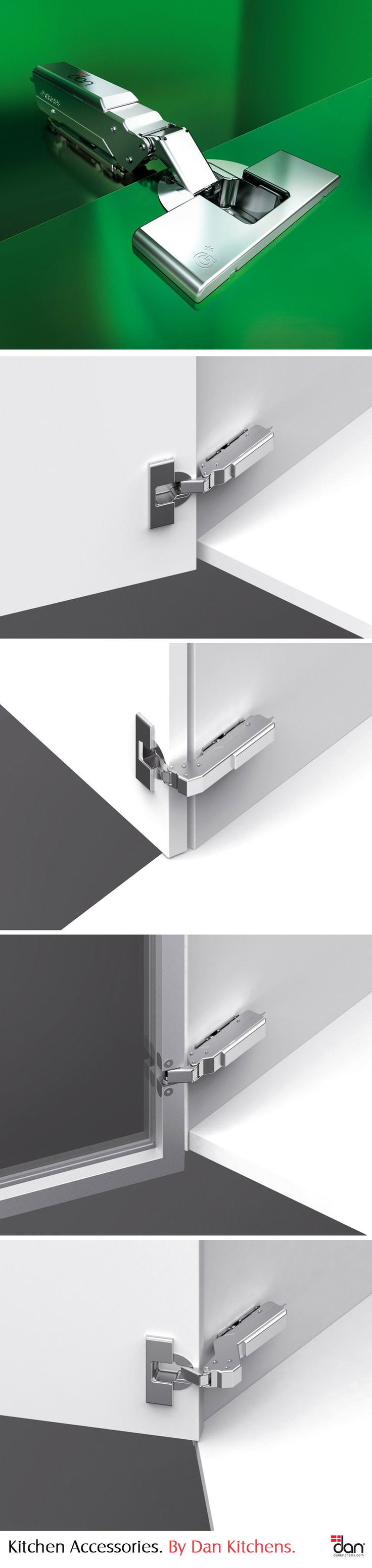 Tiomos Hinge System by Grass: Austrian made, kitchen hardware from Grass represents the premium end of the market. The Toimos is their latest system incorporating fine adjustment, integrated soft-close and a sleek look.