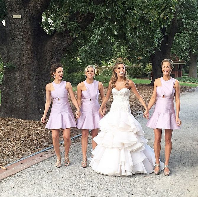 Bridesmaids on duty wearing Frostings Crossover dresses in lilac #wedding #love