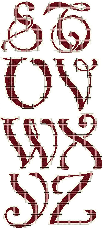 Schema punto croce Stuvwxyz, art nouveau capital letters