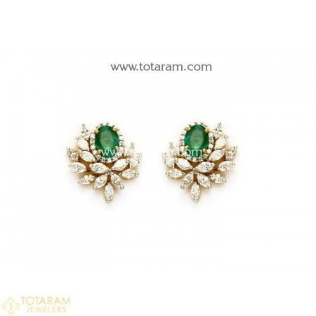 18K Gold Diamond Earrings with Emeralds - 235-DER1131 - Buy this Latest Indian Gold Jewelry Design in 6.950 Grams for a low price of  $2,210.94 #GoldJewelleryWithPrice