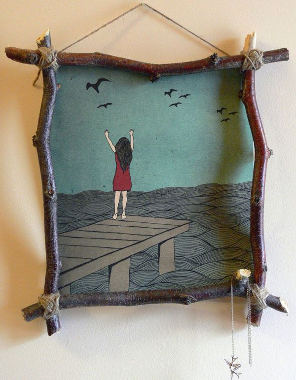 ⛱ cute for fall...diy stick and twine frame...fall...