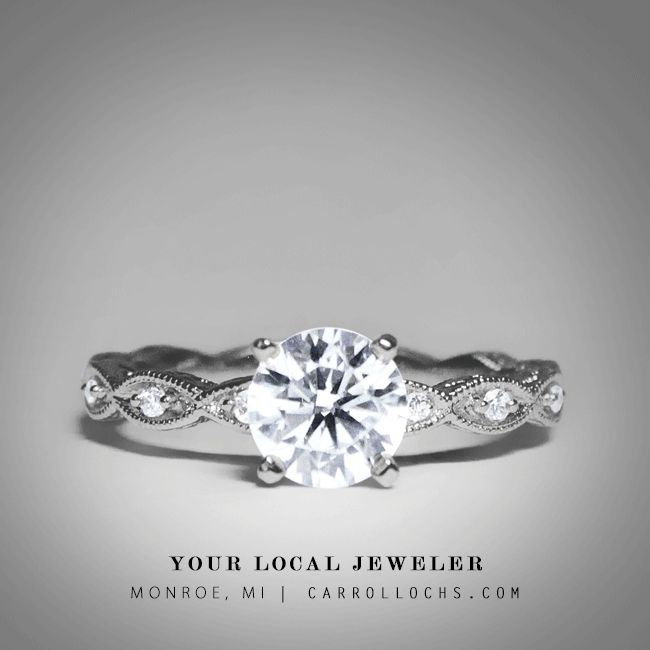 Brilliant Round Cut Diamond Vintage Style / Simple Engagement Ring in 14 Karat White Gold. Style: ER4122