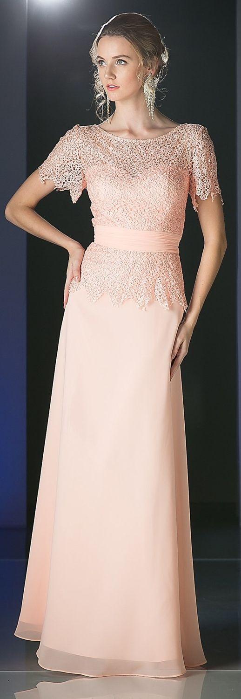 Short Sleeve Lace Overlay Mother of Groom Dress #discountdressshop #lace #motherofgroom #shortsleeve #formalwear