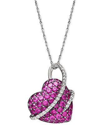 Sterling Silver Necklace, Ruby (2-1/2 ct. t.w.) and Diamond (1/5 ct. t.w.) Heart Pendant   Sale $299.00