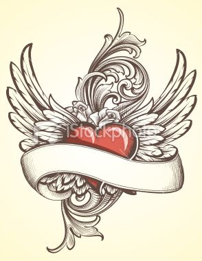 Winged Heart with Scroll tattoo Royalty Free Stock Vector Art Illustration