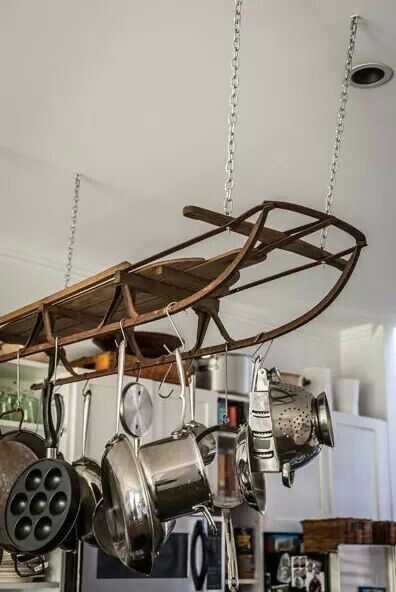 Antique sled used to hang pots and pans absolutely clever!