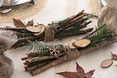 fagots détail décoration table Noel nature