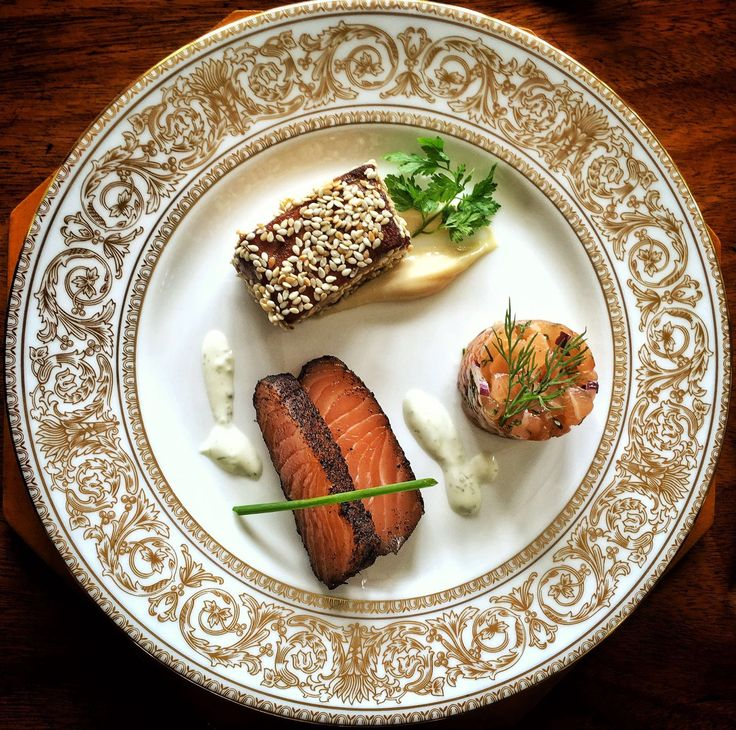 The White Label's Salmon Starter Three Ways: Lapsang Souchong Cured Salmon, Lime Sour Cream Salmon, Shallot & Chervil Tartare Seared Sesame Salmon, Soy & Miso Mayonnaise Instagram @The_White_Label_Events  #thewhitelabel #caterer #catering #bespoke #salmon #events #fooddesign