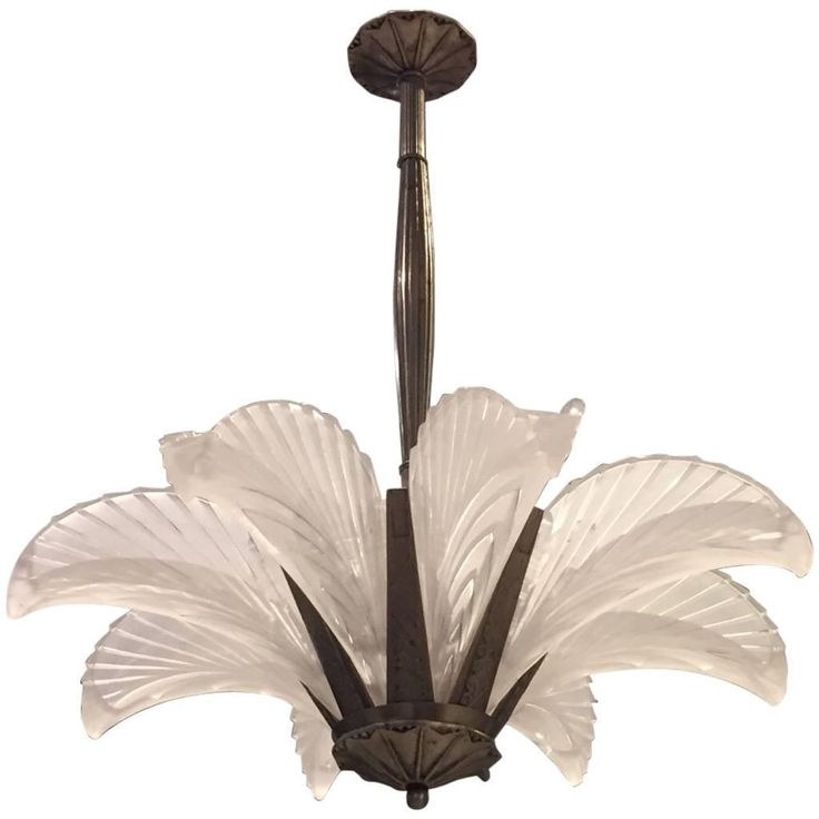 """French Art Deco """"Feather"""" Chandelier   From a unique collection of antique and modern chandeliers and pendants at https://www.1stdibs.com/furniture/lighting/chandeliers-pendant-lights/"""