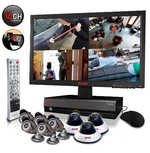 Revo 16CH DVR Home Security System with 2TB HDD 4x 600TVL Night Vision Cameras #RevoAmerica